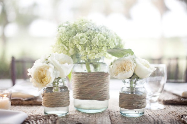 centerpiece with twine and jars