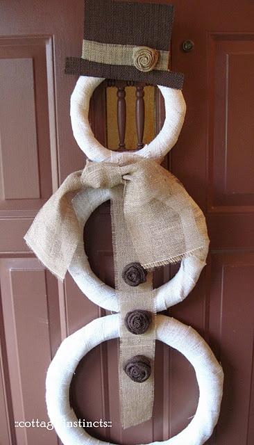Burlap accessorized snowman