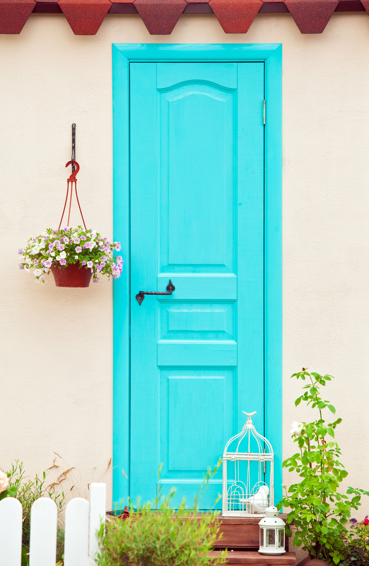 Aqua gives off such a comforting feeling, doesn't it? Here are some welcoming front door colors to inspire you!