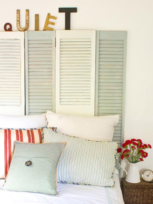weathered shutter headboard