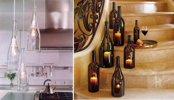 Glass bottle pendant lights