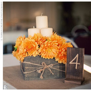 rustic orange centerpiece