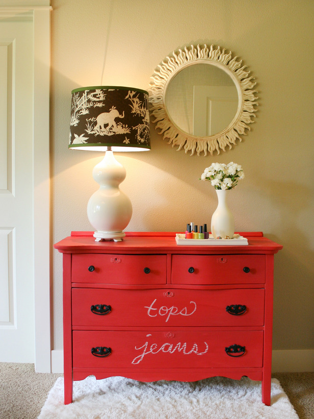 10 ways to repurpose old items- colorful dresser