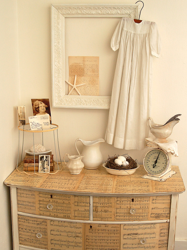 10 ways to repurpose old items- decoupage dresser