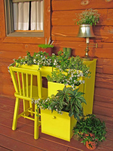 Yellow painted desk on the porch of a rustic home. The drawers have become containers for plants.