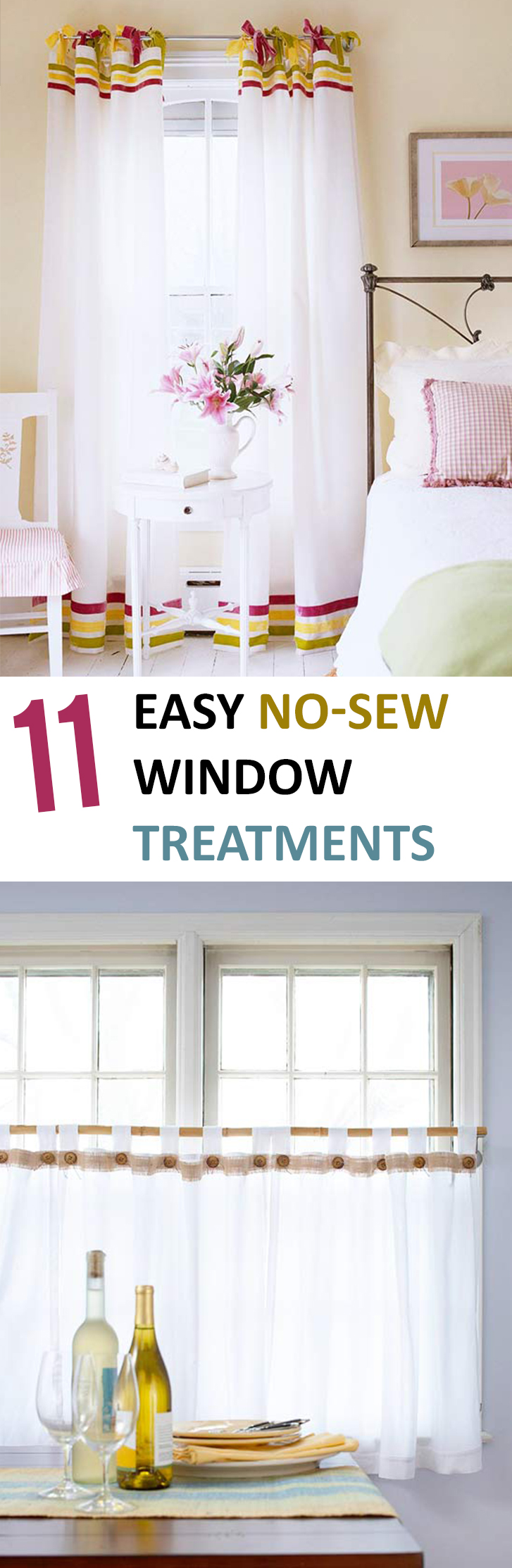 DIY Window Treatments, DIY Window, Window Treatments, Popular Pin, Home Decor, DIY Home Decor, No-Sew Projects, No-Sew Window Treatments.