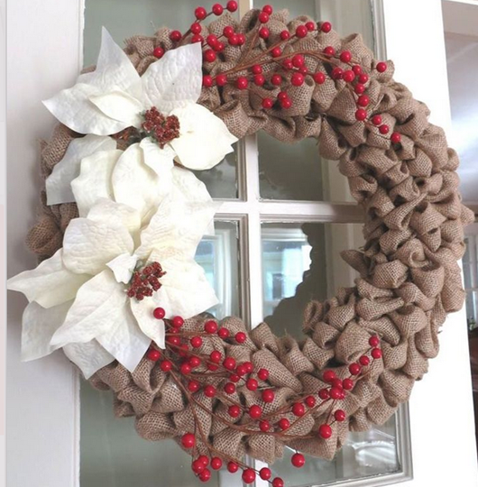 burlap isnt used often in christmas decorations but it really goes well with lots of other christmas themes and colors make a wreath out of burlap and