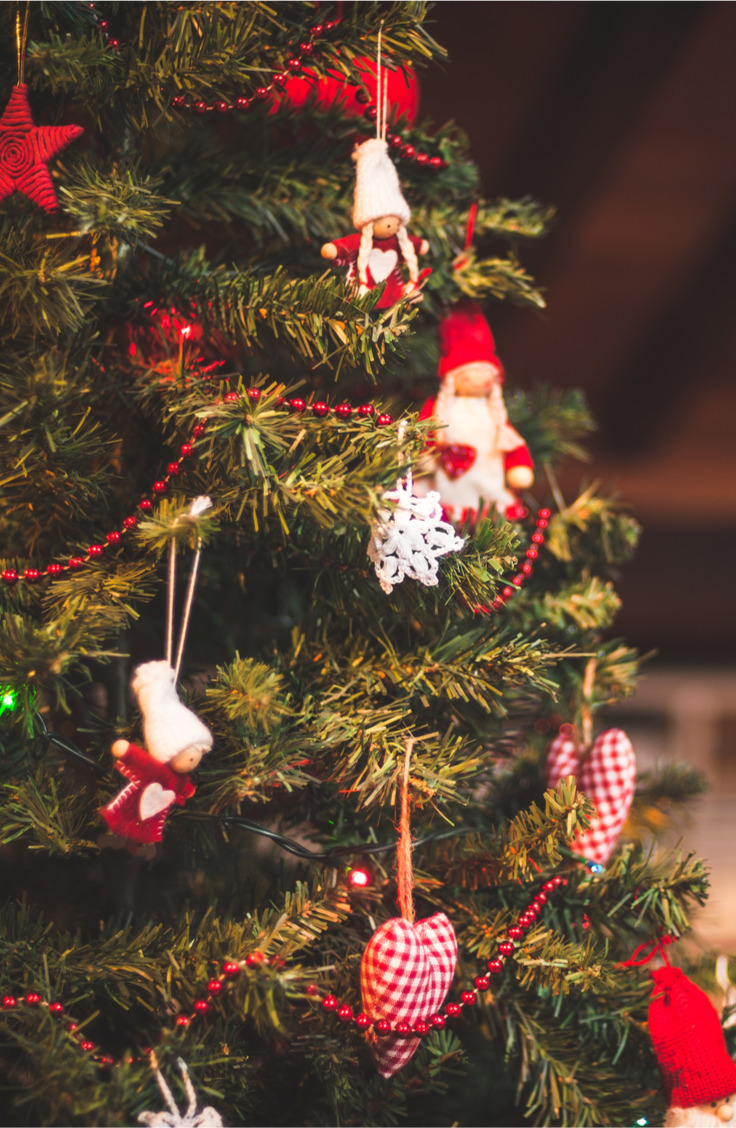 Here are some great ways to decorate a Christmas tree. Red balls, beads, stars and handmade dolls are a welcome addition to any Christmas tree--and a favorite of the kids!