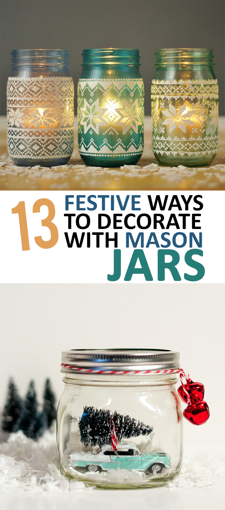 Decoating With Mason Jars, How to Decorate With Mason Jars, Christmas Decorating DIY, Easy Ways to Decorate with Mason Jars, DIY Christmas Decor, Easy Holiday Decor, Last Minute Holiday Decor Ideas