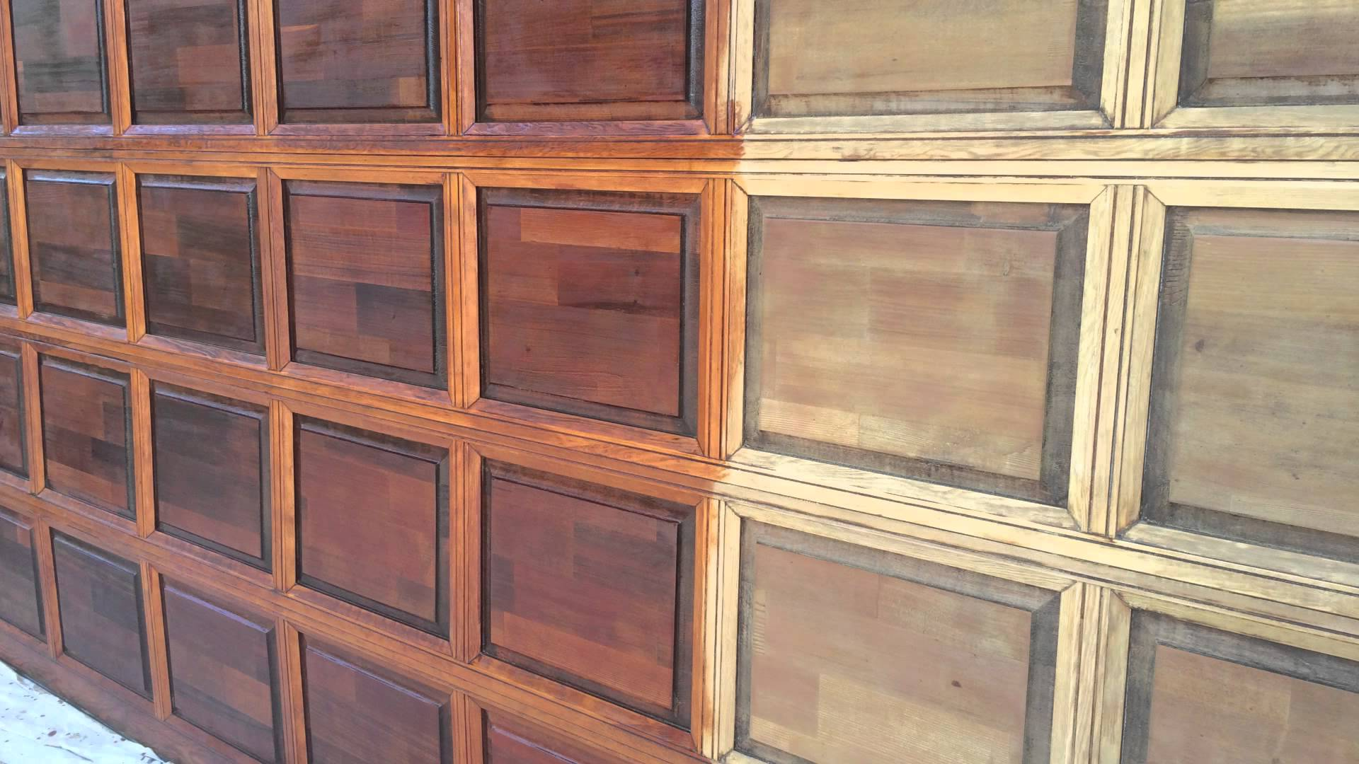 How to update your garage door with a coat of stain - Making a steel door look like wood ...