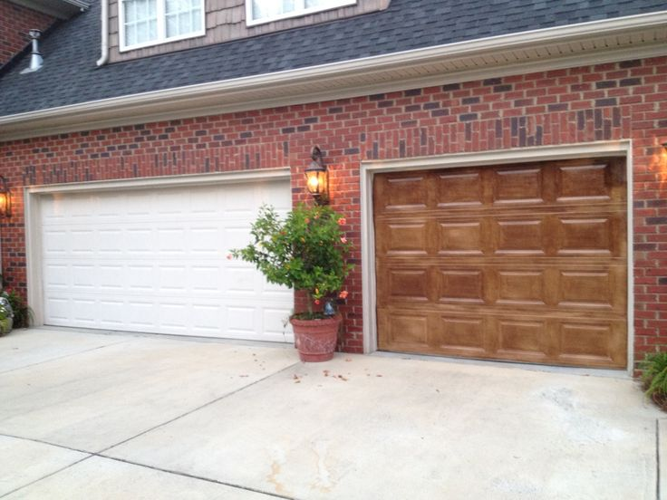 How to update your garage door with a coat of stain - Red exterior wood paint plan ...