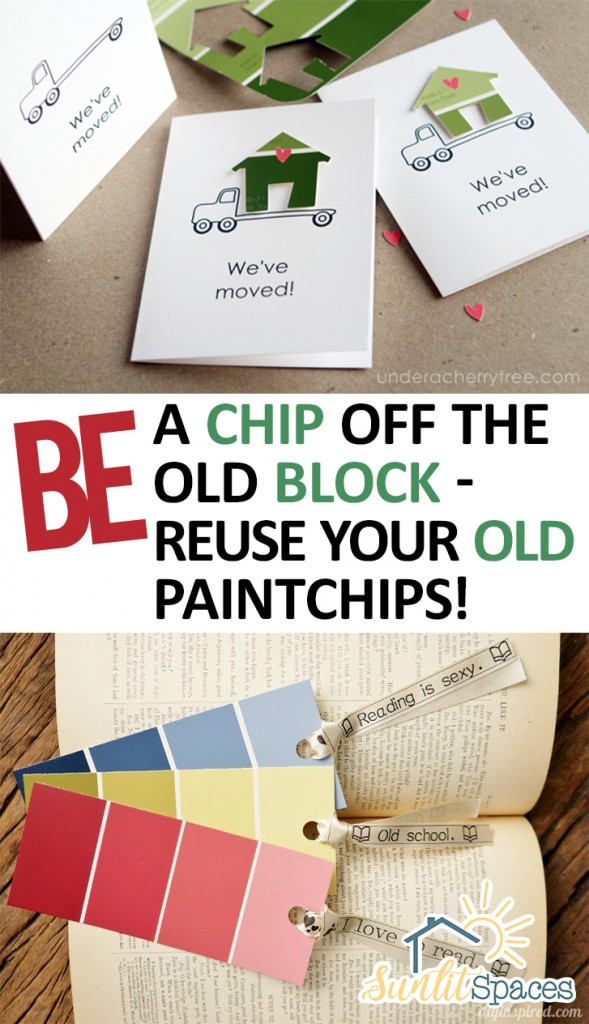 Be a Chip Off the Old Block--Reuse Your Old Paintchips! How to Reuse Paint Chips, Paint Chip Craft Projects, Paint Chip Craft Projects for Beginners, Craft Projects, Crafts for Beginners, Crafting for Beginners, Crafting Tips and Tricks, Popular Pin