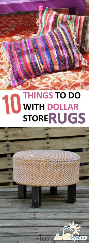 Dollar Store Rugs, Dollar Store Rug Projects, How to Use Dollar Store Rugs, How to Upcycle Dollar Store Rugs, Dollar Store Craft Projects, DIY Dollar Store Crafts