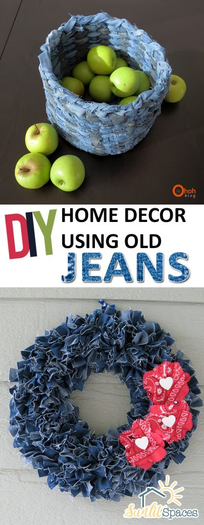 DIY Home Decor Using Old Jeans| Recycling Old Jeans, How to Use and Recycle Old Jeans, Old Jeans Home Decor, Home Decor Hacks, Recycling Projects, Repurpose Projects, Simple Repurpose Projects, Popular Pin