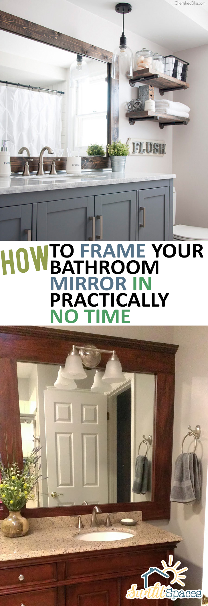 How To Frame Your Bathroom Mirror In Practically No Time| Frame Your  Bathroom Mirror,