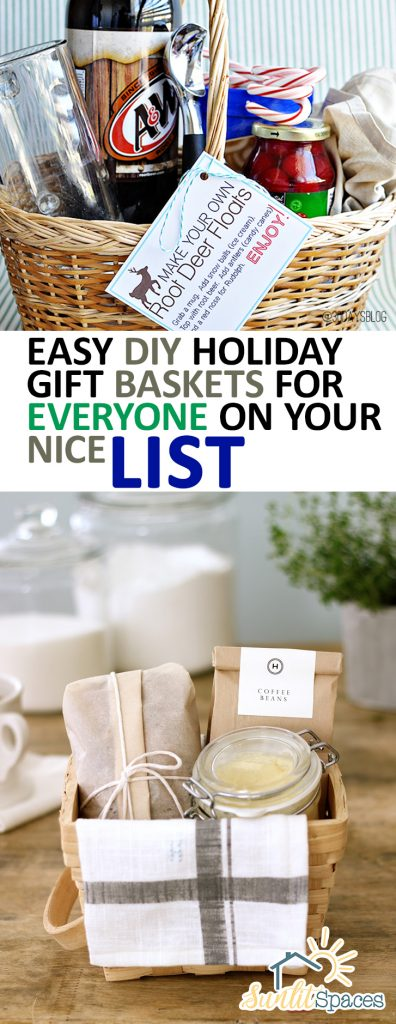 Easy DIY Holiday Gift Baskets for EVERYONE on Your Nice List| Holiday Gift Baskets, Holiday Gifts, Gift Projects, DIY Gift Baskets, Christmas, Christmas Gifts, DIY Holiday Gifts, Popular Pin #Christmas #Gifts #DIYGifts