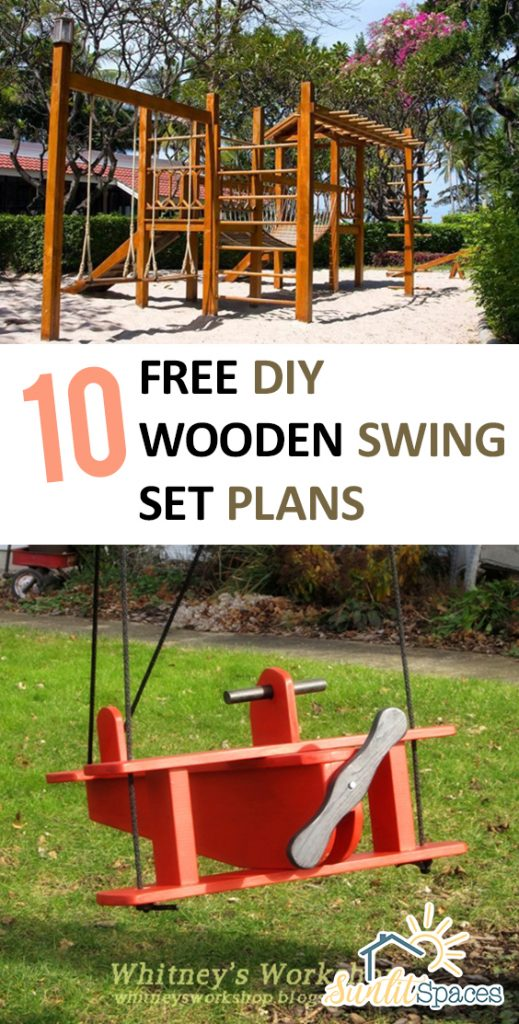10 Free DIY Wooden Swing Set Plans| Wooden Swing DIY, DIY Wooden Swing Set,  Wooden Swing Set, Wooden Swing Set Plans
