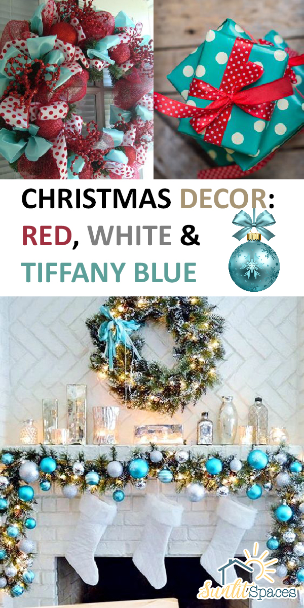 christmas decor red white tiffany blue