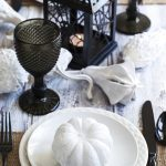 black and white pumpkin decor table decor for halloween