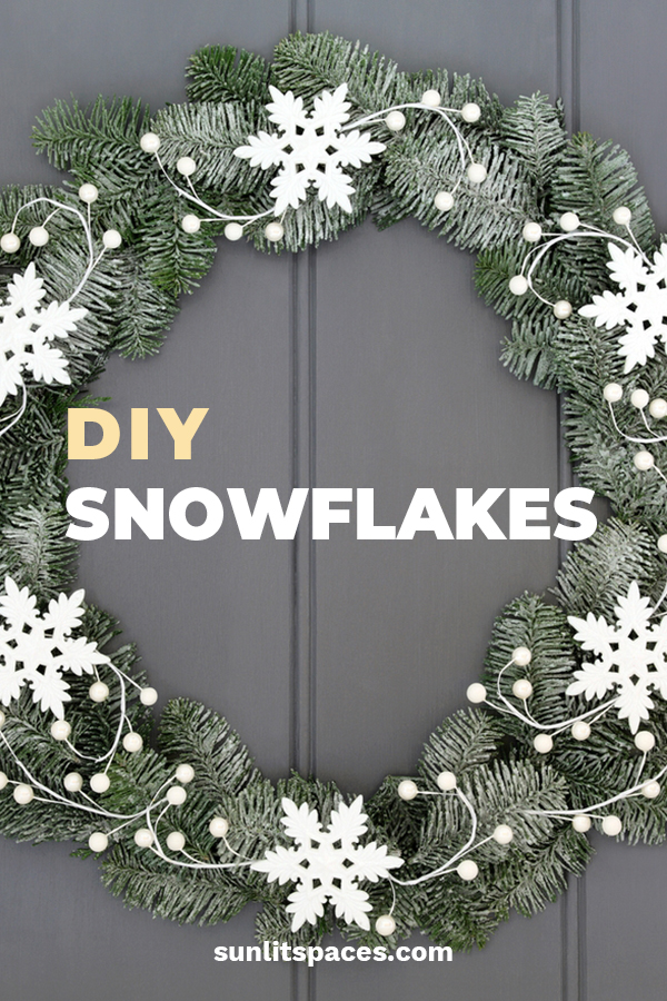 Snowflakes are beautiful and each one unique. Why not make a few for your holiday decor this year. We have some easy ideas for things like ornaments, wreaths, and more. Show off your love of the holidays with some festive DIY Snowflake Holiday Decor. #snowflakes #DIYholidaydecor #DIYsnowflake