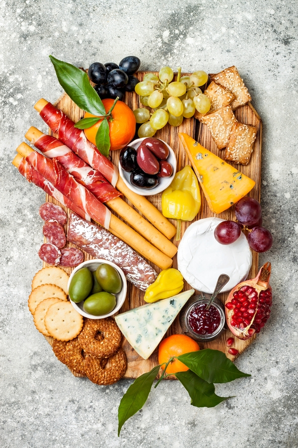 A charcuterie board is the perfect snack tray for any New Years Eve party. For more New Years Eve dinner ideas that are delicious, look here!