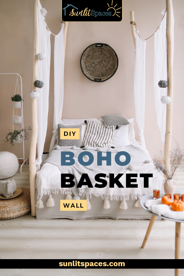 A DIY Boho basket wall is a fun decorating project that anyone can do! And you don't have to be into Boho style to have one. A basket gallery wall works with rustic, modern farmhouse and coastal decor. #sunlitspacesblog #DIYbohobasketwall #basketgallerywall
