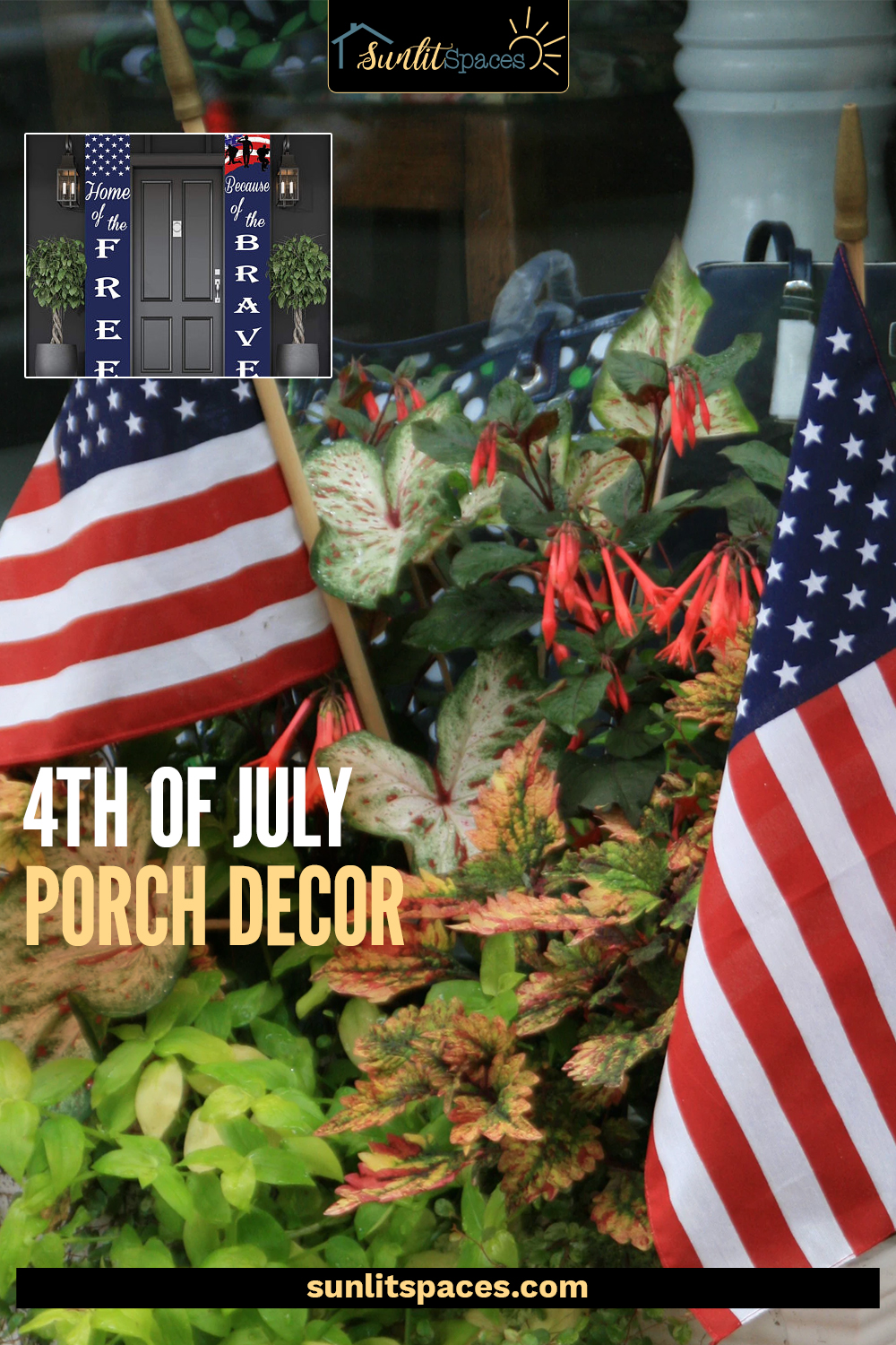 4th of July porch decor with tons of charm! Etsy is the place for patriotic decor to dress up your porch this July. See the unique finds that can be yours! #sunlitspacesblog #4thofjulyporchdecor