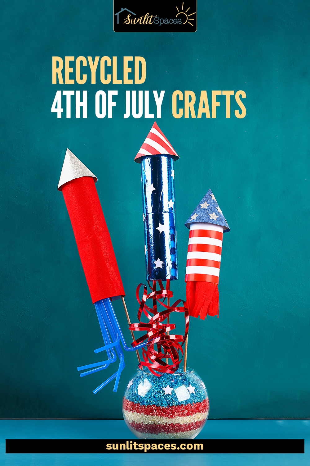Do you enjoy 4th of July craft projects? Don't miss these fun recycled 4th of July crafts! There's a project for old books, tin cans, mason jars, and even window frames. #sunlitspacesblog #recycled4thofjulycrafts #DIY4thofjulycrafts