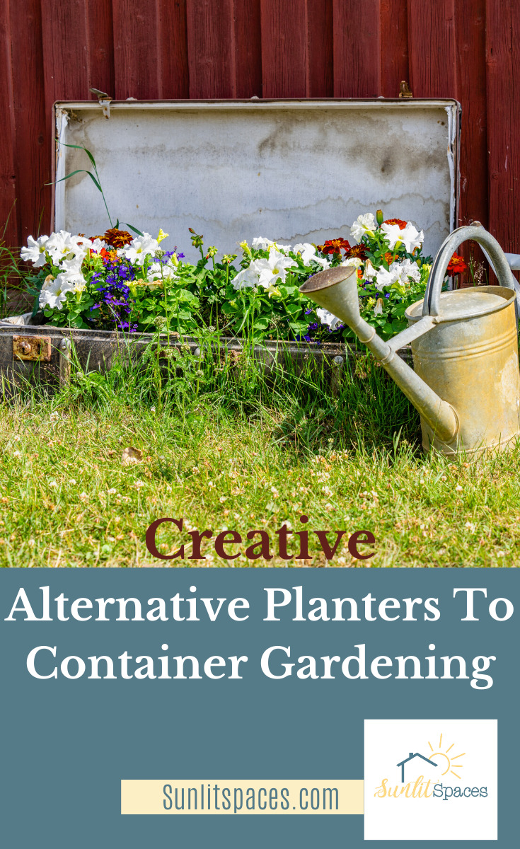 Gardens, especially flower gardens, always look better when some thought goes into them. Have you ever thought of using alternative planters for container gardeing? Do you have an old wheelbarrow, a suitcase, or some rubber boots? They make amazing displays. Read on for more ideas about alternative planters. #containergardening #flowergardening #gardeningideas #sunlitspacesblog