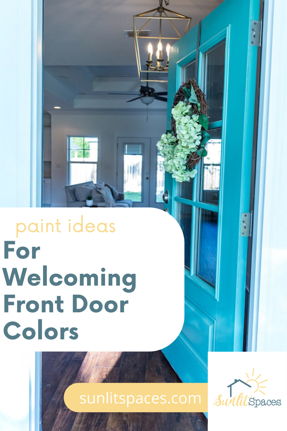 7 Welcoming front doors you can't miss. Give your entire front exterior a facelift with a new paint color for your front door! This guide will help you choose the most welcoming color for your home. #sunlitspacesblog #welcomingfrontdoorcolors