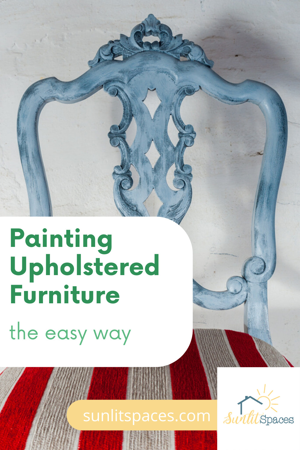 Painting upholstered furniture is easy when you know the best techniques and products to use. See what you can do to give your tired upholstery new life with paint! #sunlitspacesblog #paintingupholsteredfurniture