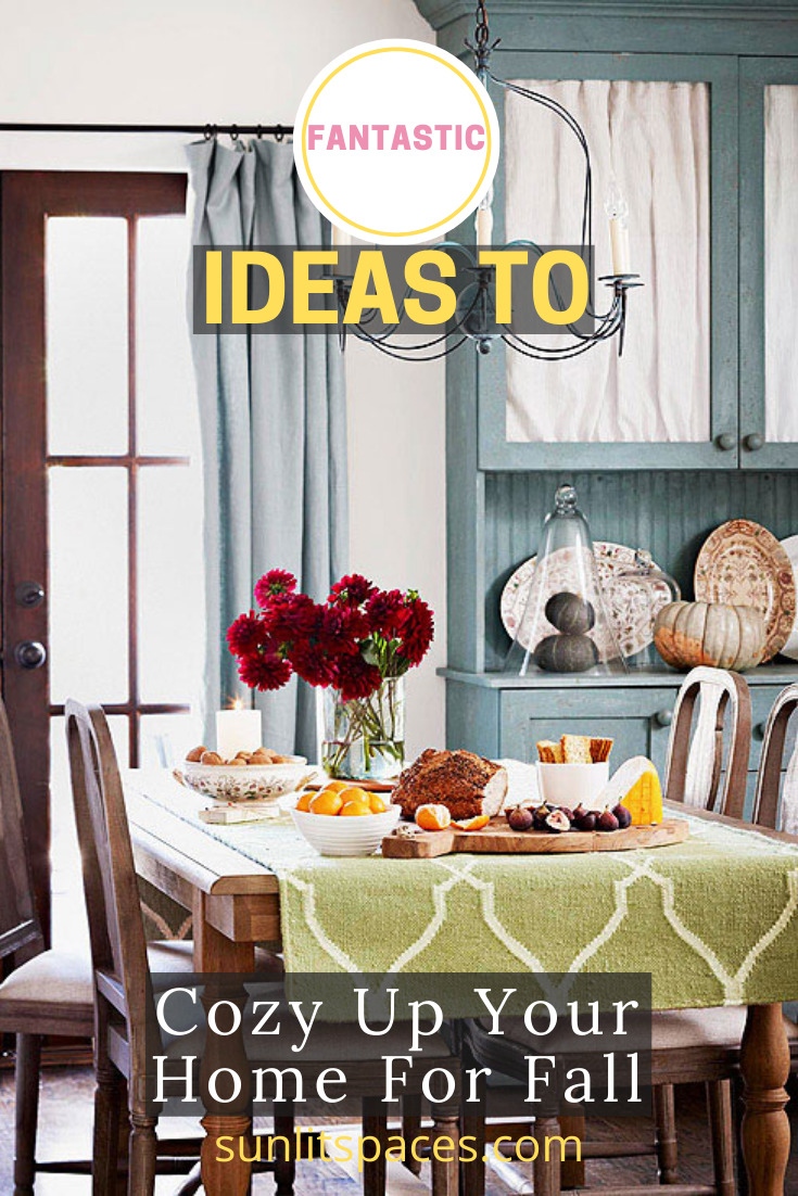 Make your house ready for the crisp chill of Fall with these decor ideas from sunlitspaces.com.  Visit the blog to learn more and sign up for the weekly email. Every week you will find tips and tricks, projects, DIY ideas and more for the holidays. #falldecor #homedecorideas #sunlitspacesblog