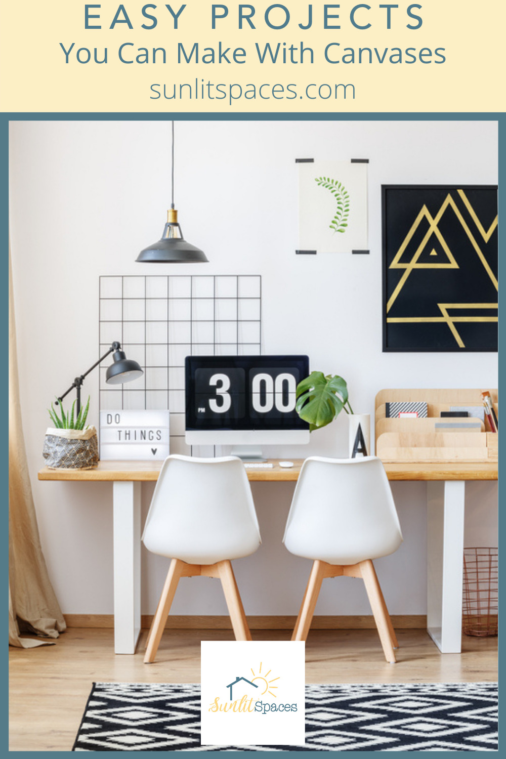 Sunlitspaces.com is the best place to find out how you can spruce up your home! Find tons of DIYs and inspo for any home project. Add some flair to your decor with these easy-to-make canvas projects!