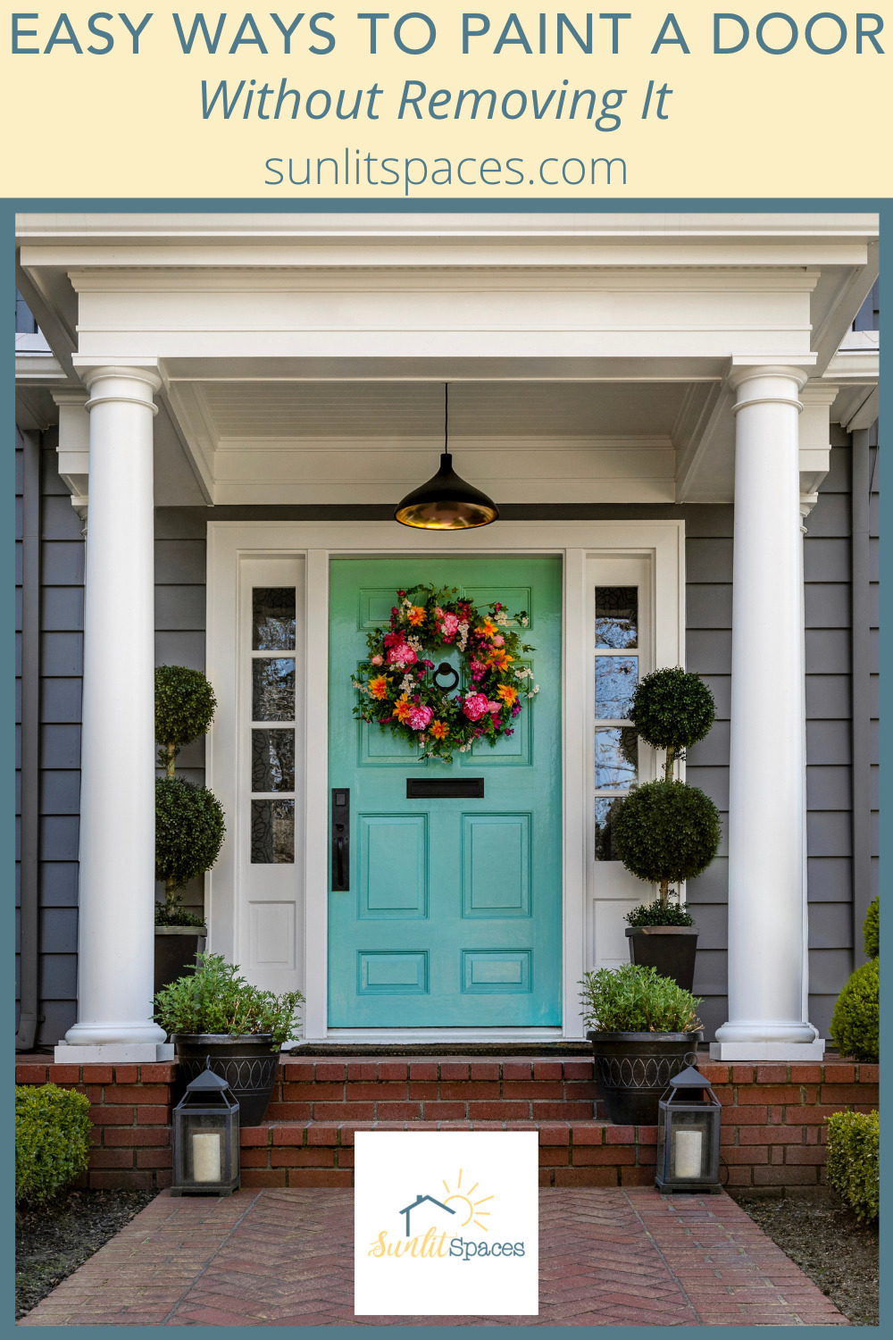 Sunlitspaces.com has all of the best and most creative ideas for curating a space that is perfect for you! Find amazing decor ideas and home improvement projects! If your front door needs a fresh paint makeover, check out this method for painting it without removing it!