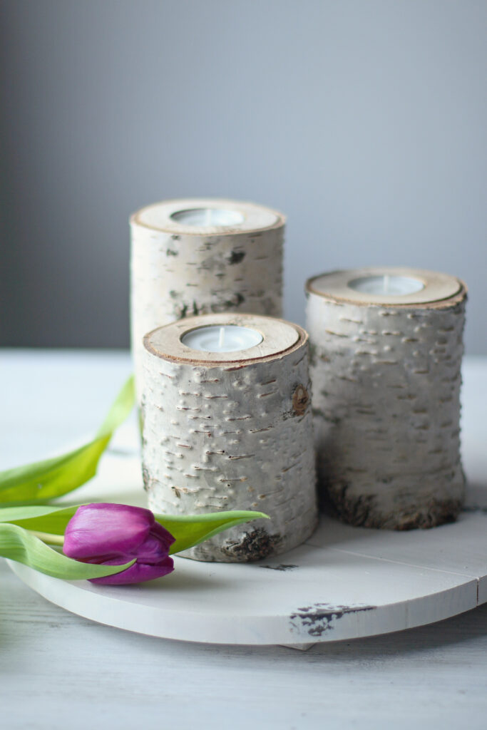Using birch candles for decoration