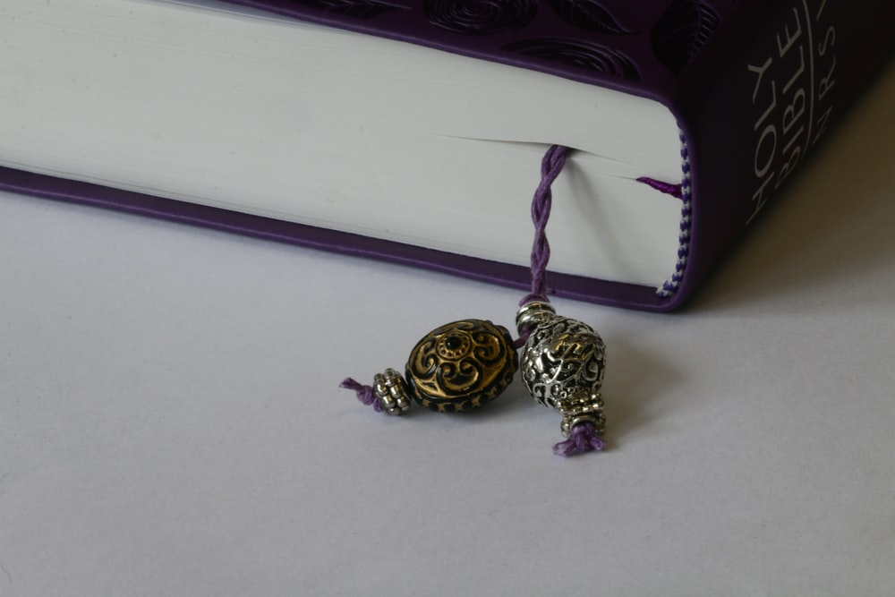 Image of a book with pewter bookmark