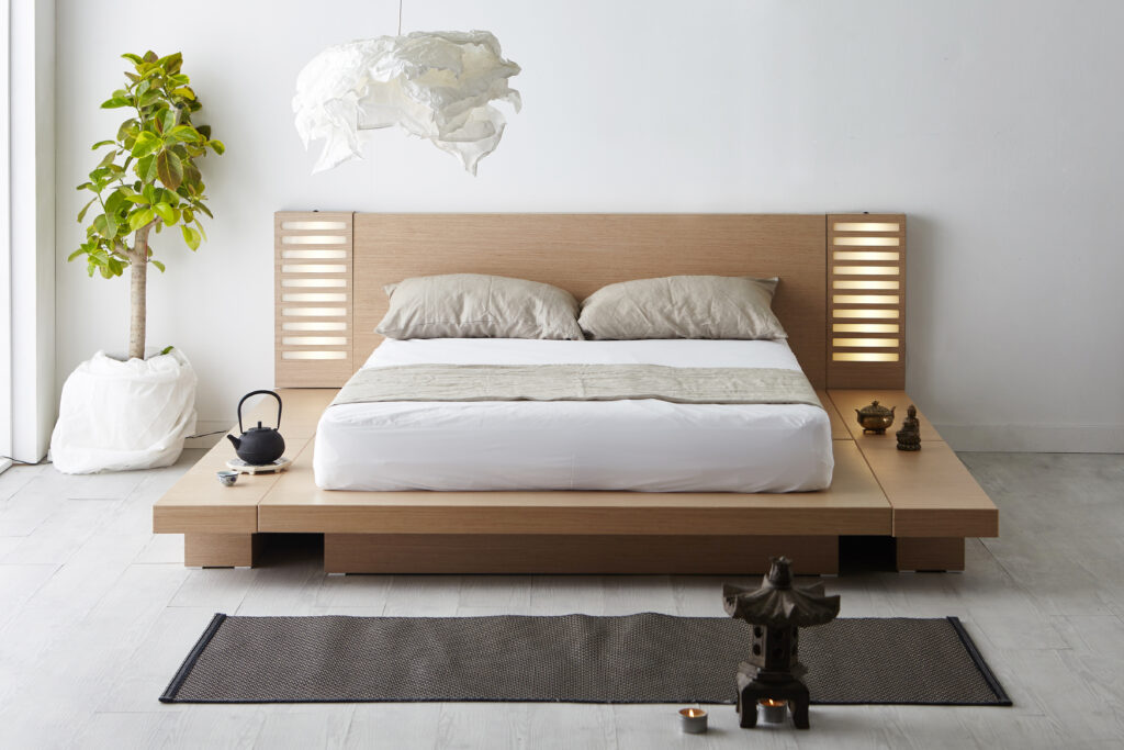 Japanese home décor with wood flooring